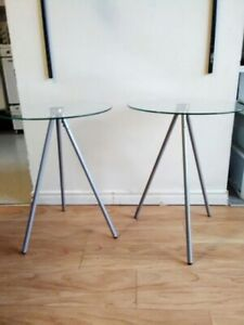 2 Round Glass Top Side Tables for sale