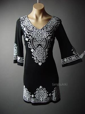 Black Ethnic Moroccan Design Gypsy Boho 70s Flare Sleeve 236 mv Dress S M L XL - 70's Dress Attire