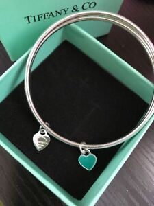 SILVER TIFFANY DOUBLE BANGLE SET WITH SILVER AND TURQUOISE HEART