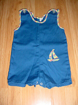 Vtg-Cosset Boys Shorts-Romper-Jon John-Blue-Sail Boat Photo-One Piece Outfit-18 mo