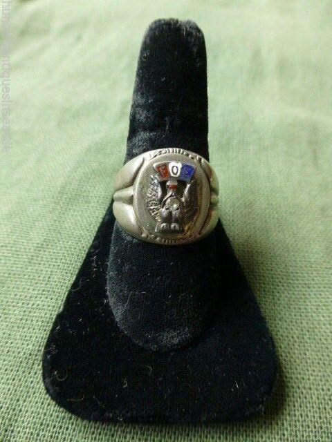 Vintage Sterling Silver Fraternal Order of Eagles Ring size 10.5