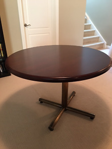 Cherry wood round pedestal meeting table