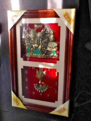 Wall Clock 14 Peru Inca Motif Gold Metal on Red Face Under Glass Wood Frame