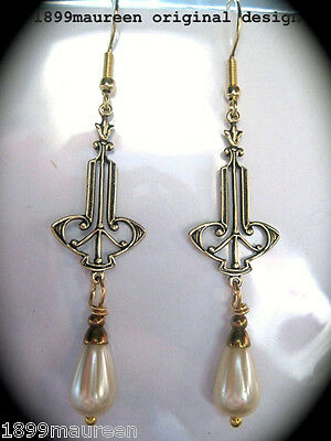 Art Nouveau Art Deco earrings Edwardian Victorian vintage wedding pearl drop