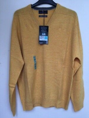"""Men`s New Marks & Spencer Pure Lambswool Jumper Size Medium 40"""" Yellow Sweater"""