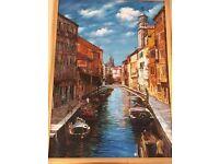 Original Framed Painting of Venetian Canal