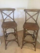 Set of x2 near new solid timber cross back bar stools. Rose Bay Eastern Suburbs Preview