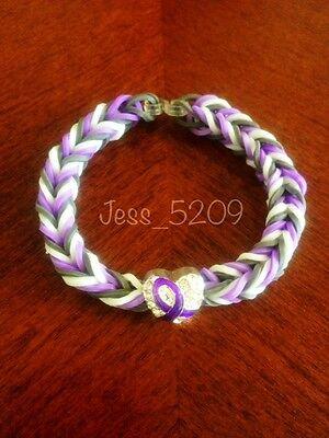 Purple Lupus Fibromyalgia Awareness Ribbon Rainbow Loom Glow Stretch Bracelet