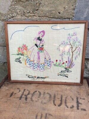 ANTIQUE needlework embroidered sampler of a girl in a crinoline and poke bonnet