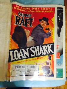 Vintage on 1950's original  Movie Theater Poster - Loan Shark