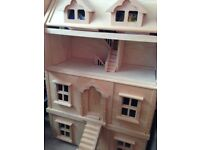 Wooden 3 storey plus basement dolls' house