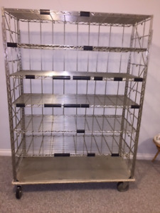 Stainless steel shelving on wheels, hospital quality $50