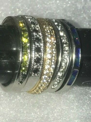 5 Sterling Silver S925 Rings Size 6 Engagement CZ Green Black Stones Enamel Lot