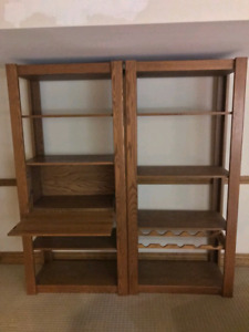 Solid oak tables and wall units