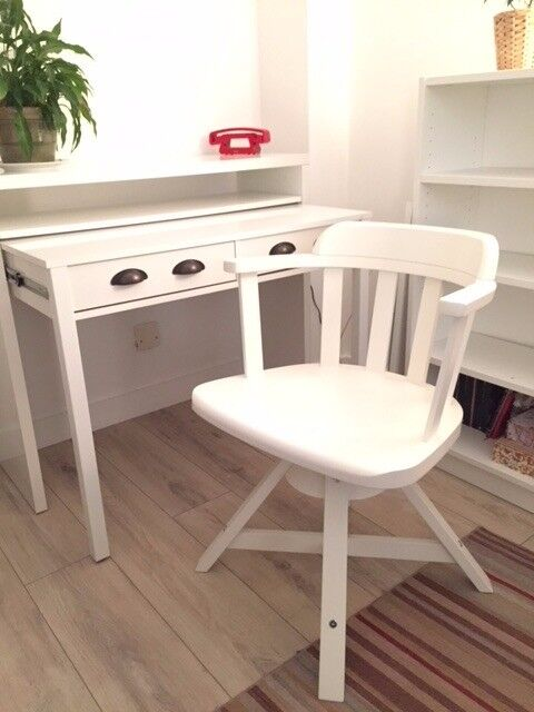 White Swivel Desk Chair Adjule Height With Armrests Ikea Feodor