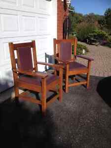 Antique Oak and Leather Chairs Kingston Kingston Area image 1