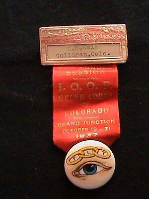 VINTAGE INTERNATIONAL ORDER OF ODD FELLOWS RIBBON GRAND JUNCTION COLORADO 1937