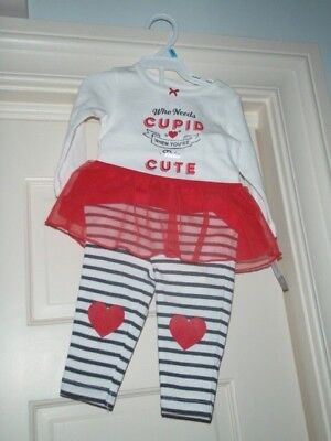 Carters Infant Girls Valentine Baby Outfit Who Needs Cupid Bodysuit & Pants 6MNT