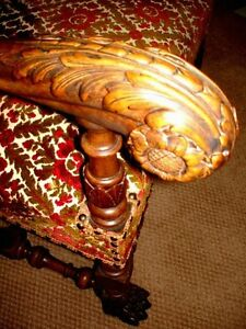 gothic DEVIL & LION PAW FEET carved walnut chair PARLOUR THRONE Kitchener / Waterloo Kitchener Area image 6