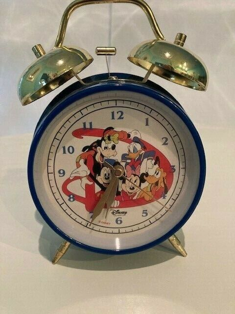 Mickey Mouse Disney Vintage Double Bell Alarm Clock Tested With Box