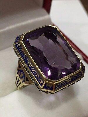 Magnificent 14k Blue Enamel ART DECO FILIGREE  Ladies Amethyst Ring