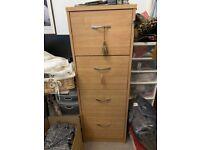 4 Draw beech effect filing cabinet