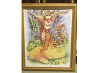 Winnie the Pooh and Tigger pine framed picture.
