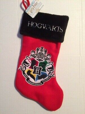 """NEW - Harry Potter HOGWARTS Houses Crest 19"""" RED Christmas Stocking NEW"""