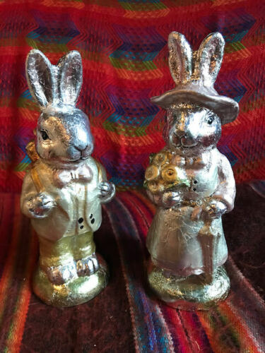 """Ceramic Faux Foil Easter Bunnies Male And Female 10"""""""