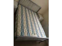 Metallic Double Bed Frame Excellent condition with Double Mattress