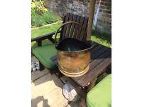 Brass & copper coal / kindling / ornate decorative bucket.
