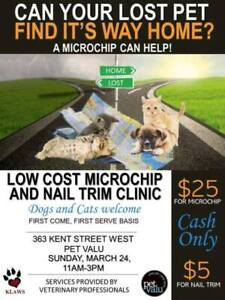 """""""KLAWS Low Cost $25 Microchip & $5 Nail Trim Fundraiser Clinic"""""""