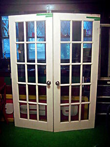 Twp(2) matching antique solid wood & glass French style Doors