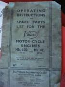 VILLIERS ENGINES ASSORTED USER MANUALS West Perth Perth City Area Preview