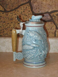 Blue Freshwater Fly Fishing Beer Stein