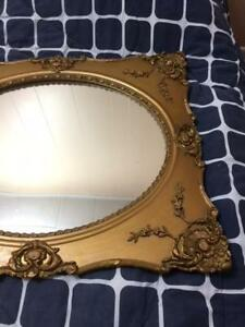 Gilt Oval French Mirror