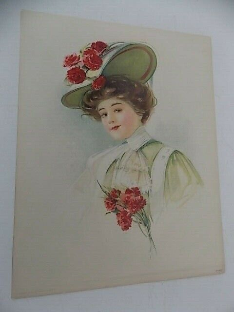 Original Victorian Lithograph Lady With Flowered Hat 98 C Copyright 1908 - $15.95