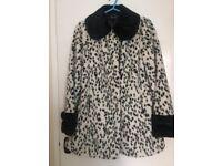 Topshop Dalmatian Print Faux Fur Coat