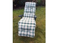 3 Reclining Garden Chairs with Cushions