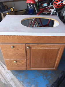 "30"" Oak Vanity with laminate top"