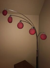 5 arm floor lamp with red glass shades