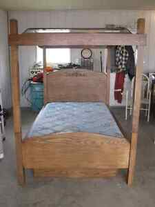 Girls Oak Canopy Bed