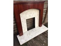 mahogany fire suround with marble back panel & harth