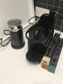 Nespresso machine Inissia Black + Aeroccino Milk Frother Bundle
