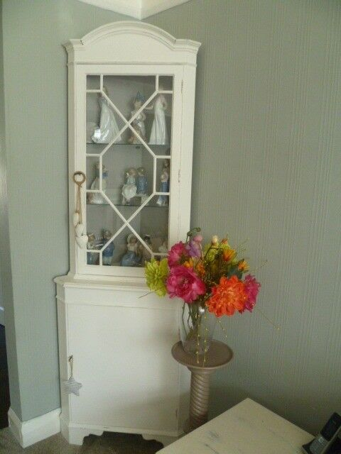 Vintage Shabby Chic Up-cycled Corner Display Cabinet in White & Grey chalk paint (with keys)