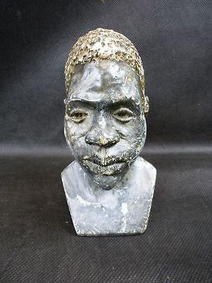Steinskulptur Kopf eines afrikanischen Mannes / Büste / Signatur Emmanuel