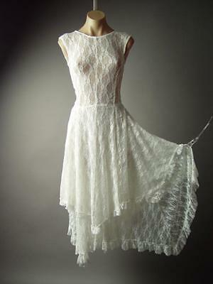 Handkerchief Hem Elegant Wedding Victorian Gown 143 mv White Lace Dress S M - White Gown