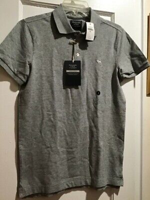 Abercrombie & Fitch Men's Stretch Polo Shirt Gray Sz. Small NWT