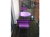 Garden / patio table with 2 folding chairs (Bistro set)