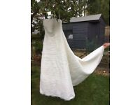 Size 12 ivory Julian & Adam A-line strapless wedding dress
